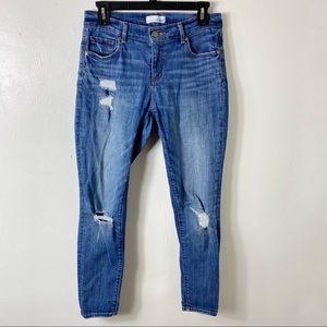 LOFT Blue Jean Denim Distressed Cropped Jeans 27/4